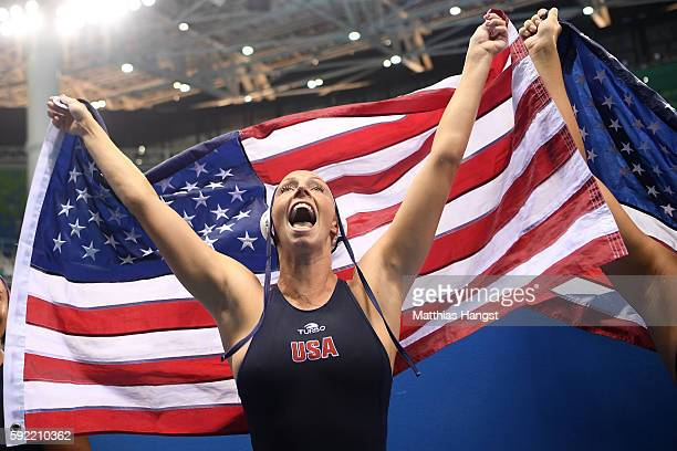 Kk Clark of United States celebrates winning the Women's Water Polo Gold Medal match between the United States and Italy on Day 14 of the Rio 2016...