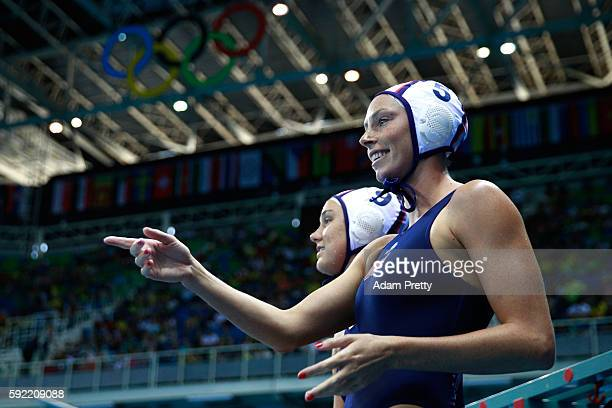 Kk Clark of United States reacts on the bench during the Women's Water Polo Gold Medal match between the United States and Italy on Day 14 of the Rio...