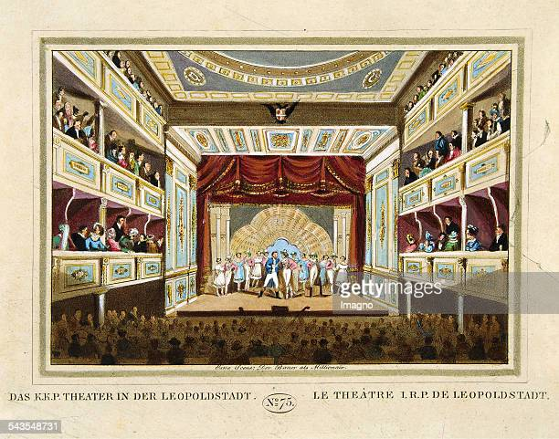 Kk p Theater in der Leopoldstadt [Leopoldstädter theater] On stage the scene >Brüderlein fein< from Raimund >Der Bauer als Millionär< 1825 Coloured...
