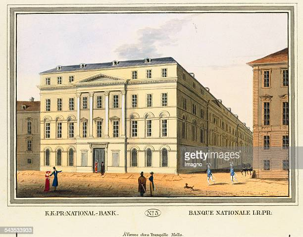 Kk pr[ivilegierte] NationalBank 1825 Colored copper engraving Journal No 3 from >Wiens vorzüglichste Gebäude und Monumente Les principaux batiments...