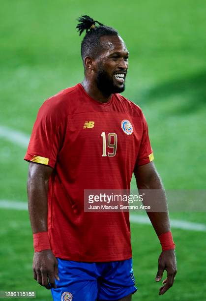 KKendall Waston of Costa Rica reacts during the International Friendly match between Euskadi and Costa Rica at Estadio Municipal de Ipurua on...