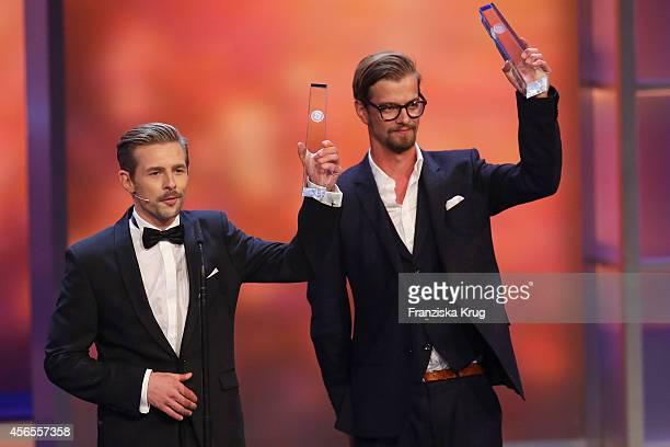 Klaas HeuferUmlauf and Joko Winterscheidt attend the Deutscher Fernsehpreis 2014 show on October 02 2014 in Cologne Germany