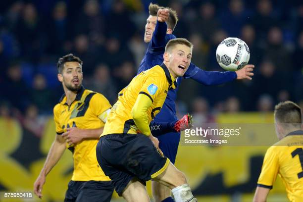 Klaas Jan Huntelaar of Ajax Arno Verschueren of NAC Breda during the Dutch Eredivisie match between NAC Breda v Ajax at the Rat Verlegh Stadium on...
