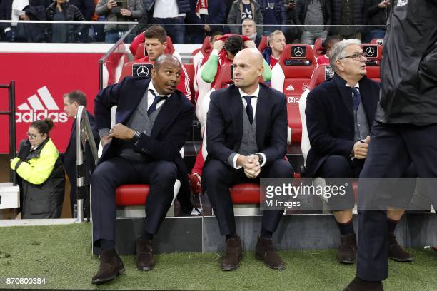 Klaas Jan Huntelaar of Ajax assistant trainer Aron Winter of Ajax coach Marcel Keizer of Ajax assistant trainer Hennie Spijkerman of Ajax during the...