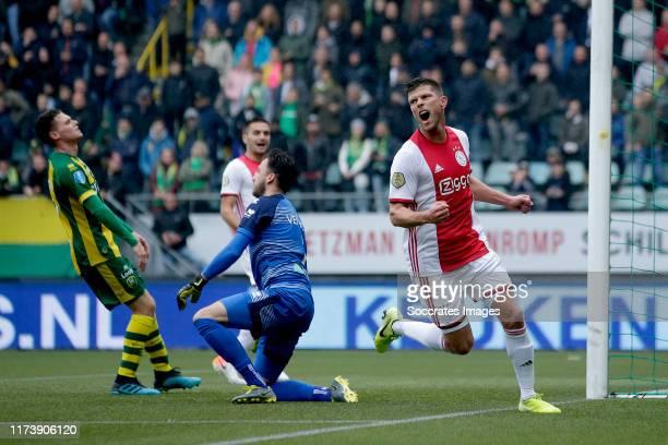 Klaas Jan Huntelaar of Ajax celebrates 0-1 during the Dutch Eredivisie match between ADO Den Haag v Ajax at the Cars Jeans Stadium on October 6, 2019...