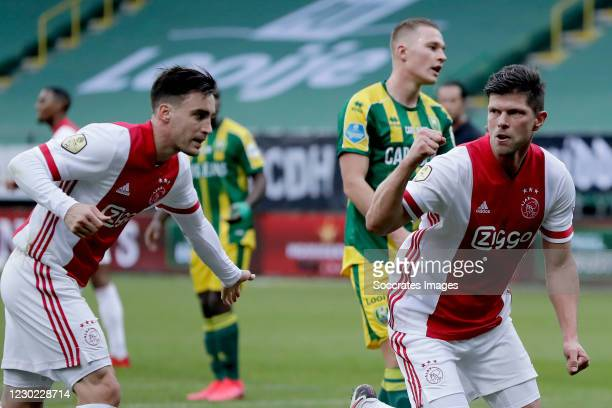 Klaas Jan Huntelaar of Ajax celebrates 0-2 with Nicolas Tagliafico of Ajax during the Dutch Eredivisie match between ADO Den Haag v Ajax at the Cars...