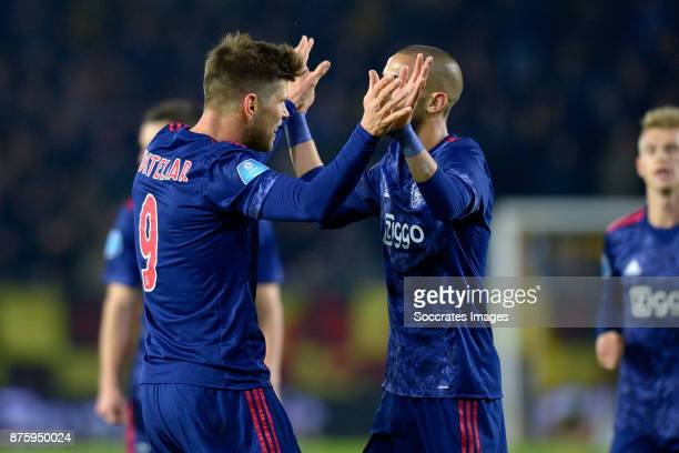 Klaas Jan Huntelaar of Ajax celebrates 07 with Hakim Ziyech of Ajax during the Dutch Eredivisie match between NAC Breda v Ajax at the Rat Verlegh...