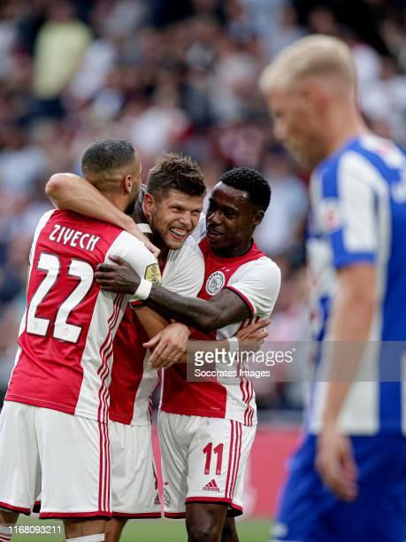 Klaas Jan Huntelaar of Ajax celebrates 1-0 with Hakim Ziyech of Ajax, Quincy Promes of Ajax during the Dutch Eredivisie match between Ajax v SC...