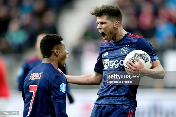 Klaas Jan Huntelaar of Ajax celebrates 11 with David Neres of Ajax during the Dutch Eredivisie match between AZ Alkmaar v Ajax at the AFAS Stadium on...