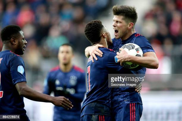 Klaas Jan Huntelaar of Ajax celebrates 11 with David Neres of Ajax Deyovaisio Zeefuik of Ajax during the Dutch Eredivisie match between AZ Alkmaar v...