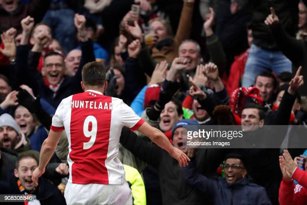Klaas Jan Huntelaar of Ajax celebrates 20 during the Dutch Eredivisie match between Ajax v Feyenoord at the Johan Cruijff Arena on January 21 2018 in...
