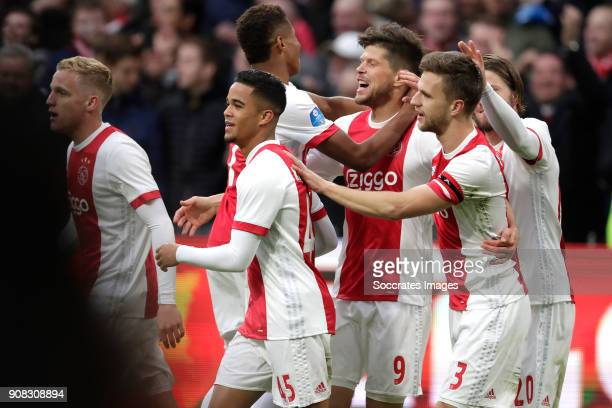 Klaas Jan Huntelaar of Ajax celebrates 20 with Donny van de Beek of Ajax David Neres of Ajax Justin Kluivert of Ajax Joel Veltman of Ajax Lasse...