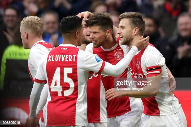 Klaas Jan Huntelaar of Ajax celebrates 20 with Donny van de Beek of Ajax Justin Kluivert of Ajax Lasse Schone of Ajax Joel Veltman of Ajax during the...