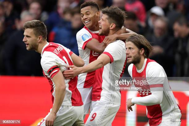Klaas Jan Huntelaar of Ajax celebrates 20 with Joel Veltman of Ajax David Neres of Ajax Lasse Schone of Ajax during the Dutch Eredivisie match...