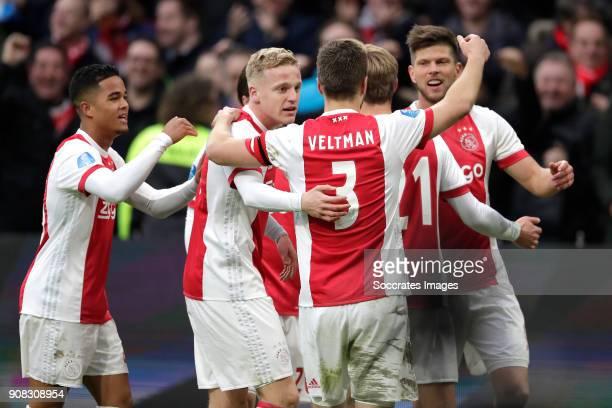 Klaas Jan Huntelaar of Ajax celebrates 20 with Justin Kluivert of Ajax Donny van de Beek of Ajax Joel Veltman of Ajax Frenkie de Jong of Ajax during...