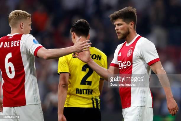 Klaas Jan Huntelaar of Ajax celebrates 31 with Donny van de Beek of Ajax during the Dutch Eredivisie match between Ajax v VVVVenlo at the Johan...