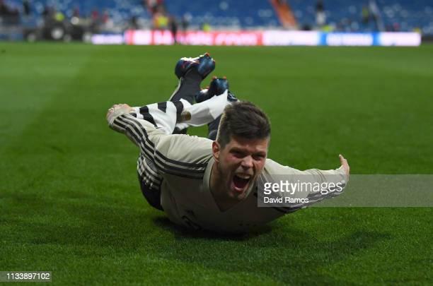 Klaas Jan Huntelaar of Ajax celebrates victory after the UEFA Champions League Round of 16 Second Leg match between Real Madrid and Ajax at Bernabeu...