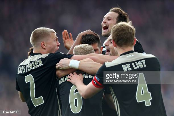 Klaas Jan Huntelaar of Ajax celebrates with teammates after scoring his team's third goal during the Dutch Toto KNVB Cup Final between Willem II and...