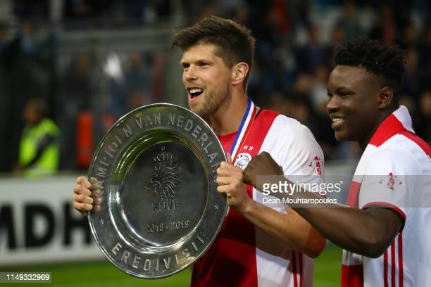 Klaas Jan Huntelaar of Ajax celebrates with the trophy after winning the Eredivisie following the Eredivisie match between De Graafschap and Ajax at...