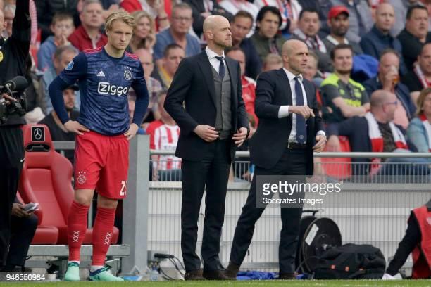 Klaas Jan Huntelaar of Ajax coach Erik ten Hag of Ajax assistant trainer Alfred Schreuder of Ajax during the Dutch Eredivisie match between PSV v...