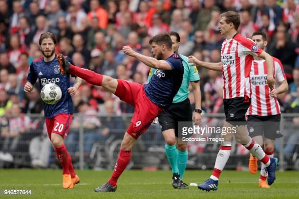 Klaas Jan Huntelaar of Ajax Daniel Schwaab of PSV during the Dutch Eredivisie match between PSV v Ajax at the Philips Stadium on April 15 2018 in...