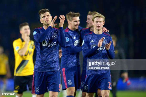 Klaas Jan Huntelaar of Ajax Frenkie de Jong of Ajax celebrate the victory during the Dutch Eredivisie match between NAC Breda v Ajax at the Rat...