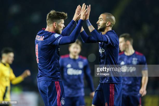 Klaas Jan Huntelaar of Ajax Hakim Ziyech of Ajax during the Dutch Eredivisie match between NAC Breda and Ajax Amsterdam at the Rat Verlegh stadium on...
