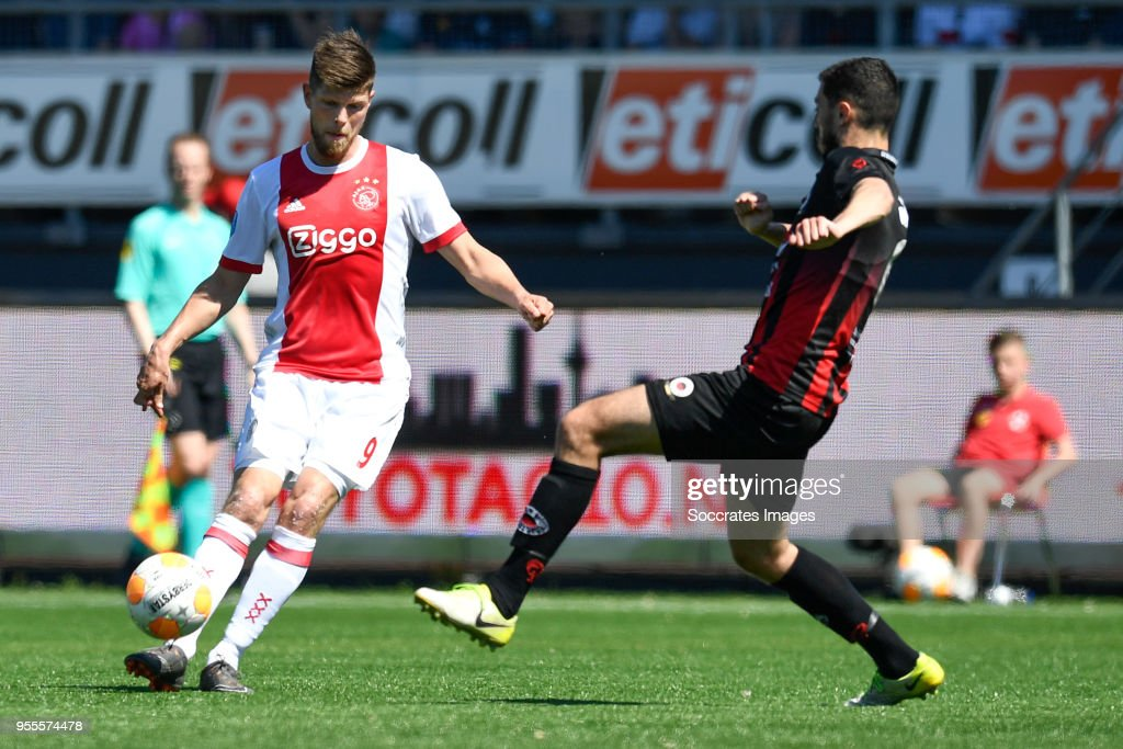 Klaas Jan Huntelaar of Ajax, Hicham Faik of Excelsior during the Dutch Eredivisie match between Excelsior v Ajax at the Van Donge & De Roo Stadium on May 6, 2018 in Rotterdam Netherlands