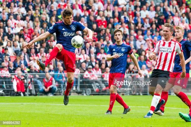 Klaas Jan Huntelaar of Ajax Joel Veltman of Ajax Luuk de Jong of PSV during the Dutch Eredivisie match between PSV Eindhoven and Ajax Amsterdam at...