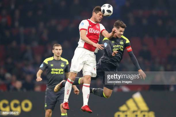 Klaas Jan Huntelaar of Ajax Marco van Ginkel of PSV during the Dutch Eredivisie match between Ajax v PSV at the Johan Cruijff Arena on December 10...