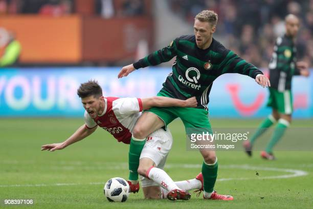 Klaas Jan Huntelaar of Ajax Nicolai Jorgensen of Feyenoord during the Dutch Eredivisie match between Ajax v Feyenoord at the Johan Cruijff Arena on...