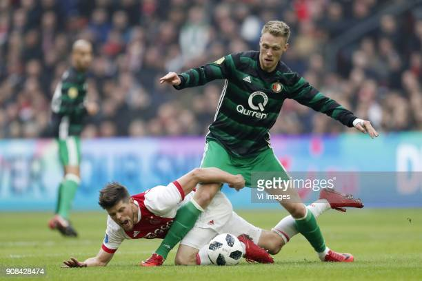 Klaas Jan Huntelaar of Ajax Nicolai Jorgensen of Feyenoord during the Dutch Eredivisie match between Ajax Amsterdam and Feyenoord Rotterdam at the...