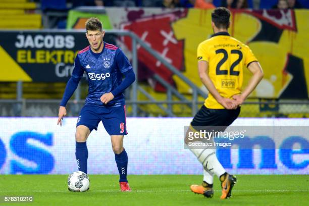 Klaas Jan Huntelaar of Ajax Pablo Mari Villar of NAC Breda during the Dutch Eredivisie match between NAC Breda v Ajax at the Rat Verlegh Stadium on...