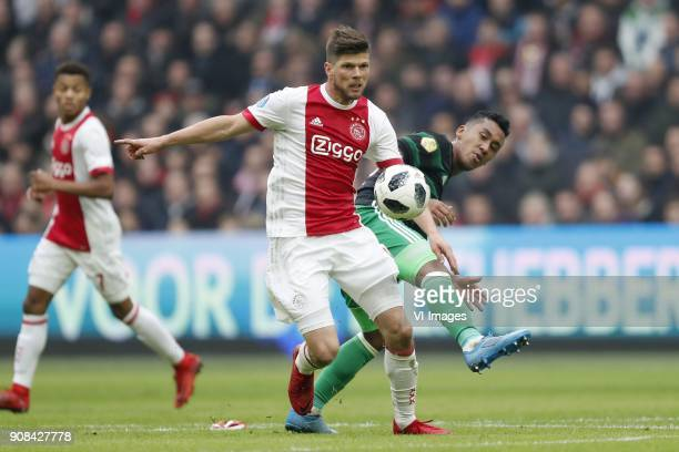 Klaas Jan Huntelaar of Ajax Renato Tapia of Feyenoord during the Dutch Eredivisie match between Ajax Amsterdam and Feyenoord Rotterdam at the...