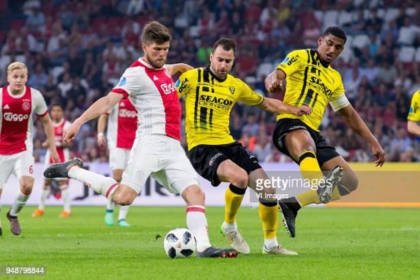 Klaas Jan Huntelaar of Ajax Roel Janssen of VVV Venlo Jerold Promes of VVV Venlo during the Dutch Eredivisie match between Ajax Amsterdam and VVV...