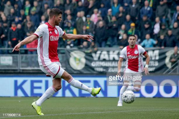 Klaas Jan Huntelaar of Ajax scores the first goal to make it 01 during the Dutch Eredivisie match between ADO Den Haag v Ajax at the Cars Jeans...