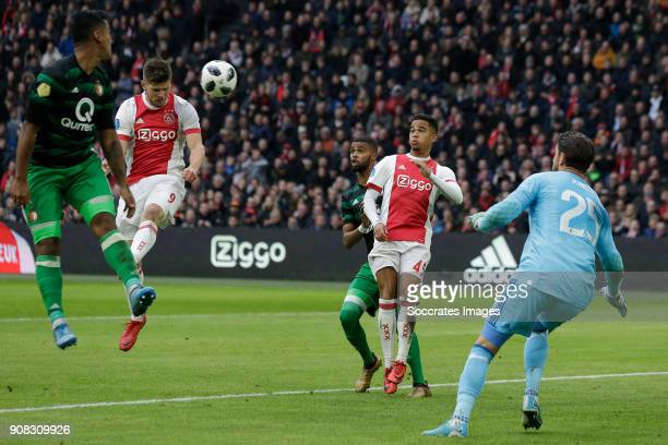 Klaas Jan Huntelaar of Ajax scores the second goal to make it 20 during the Dutch Eredivisie match between Ajax v Feyenoord at the Johan Cruijff...