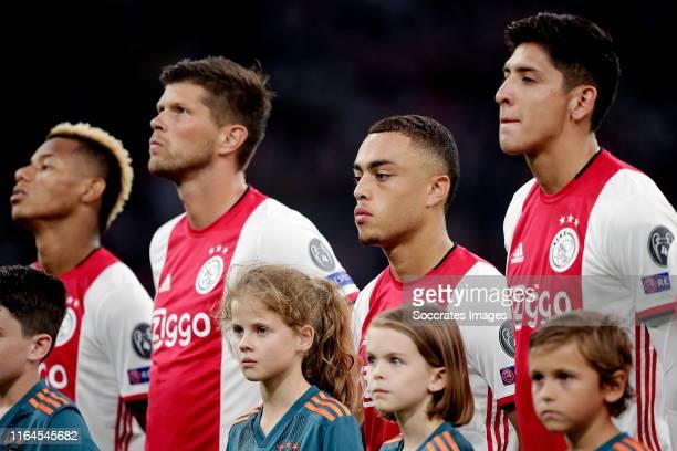 Klaas Jan Huntelaar of Ajax Sergino Dest of Ajax Edson Alvarez of Ajax during the UEFA Champions League match between Ajax v Apoel Nicosia at the...