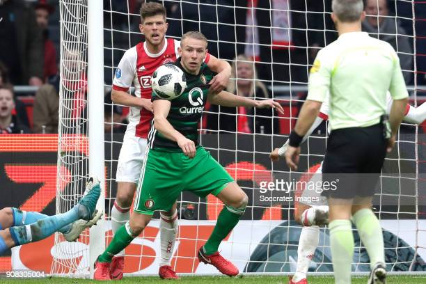 Klaas Jan Huntelaar of Ajax Sven van Beek of Feyenoord during the Dutch Eredivisie match between Ajax v Feyenoord at the Johan Cruijff Arena on...