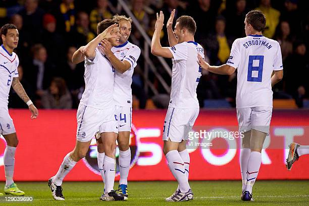Klaas Jan Huntelaar of Holland, Joris Mathijsen of Holland, Erik Pieters of Holland during the EURO 2012 Qualifying match between Sweden and...
