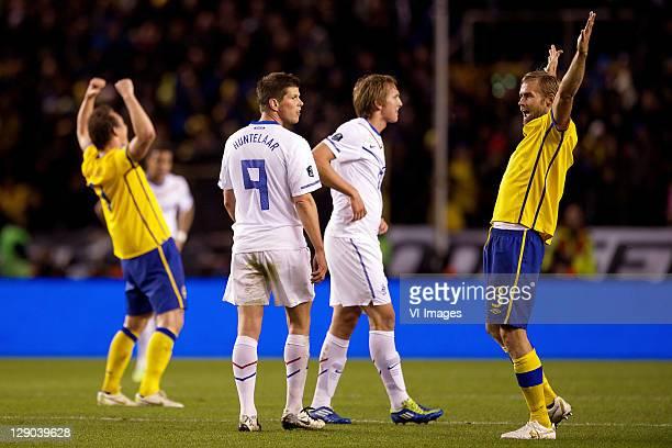 Klaas Jan Huntelaar of Holland,Luuk de Jong of Holland, Olof Mellberg of Sweden during the EURO 2012 Qualifying match between Sweden and Netherlands...