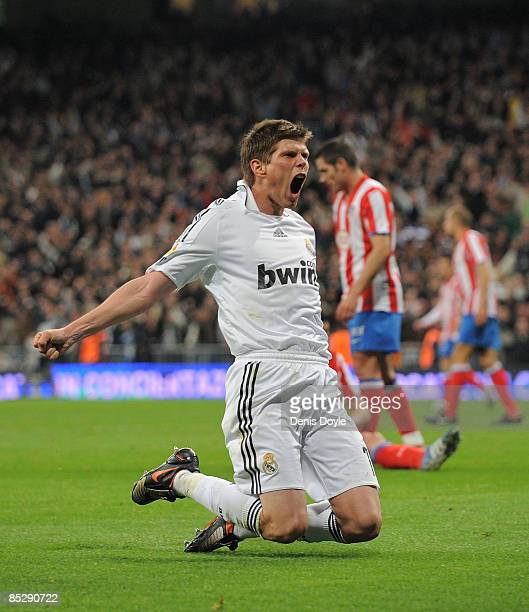 Klaas Jan Huntelaar of Real Madrid celebrates after scoring Real's first goal during the La Liga match between Real Madrid and Atletico Madrid at the...