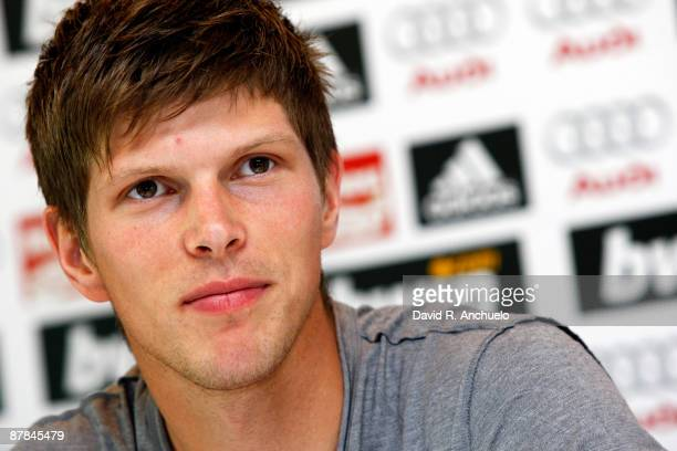 Klaas Jan Huntelaar of Real Madrid gives a press conference after a training session at Valdebebas on May 19 2009 in Madrid Spain