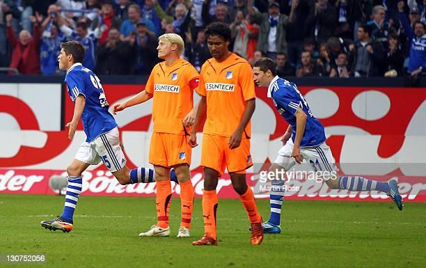 Klaas Jan Huntelaar of Schalke celebrate with his team mates after he scores his team's 3rd goal during the Bundesliga match between FC Schalke 04...