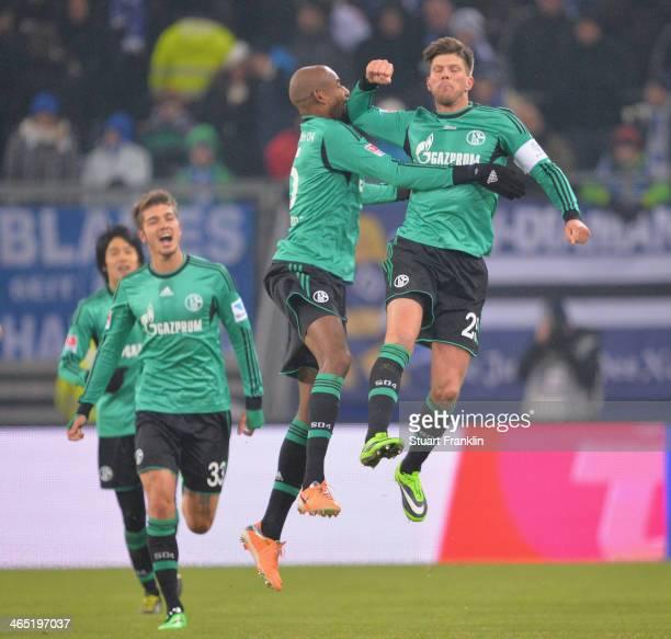 Klaas Jan Huntelaar of Schalke celebrates his goal during the Bundesliga match between Hamburger SV and FC Schalke 04 at Imtech Arena on January 26,...