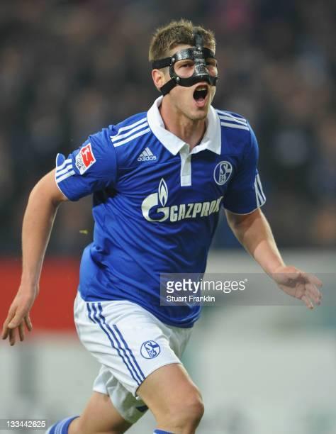 Klaas - Jan Huntelaar of Schalke celebrates scoring his second goal with Julian Draxler during the Bundesliga match between FC Schalke 04 and 1. FC...