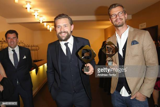 KlaasHeufer Umlauf and Joachim 'Joko' Winterscheidt pose with their awards during the 54th Grimme Award on April 13 2018 in Marl Germany