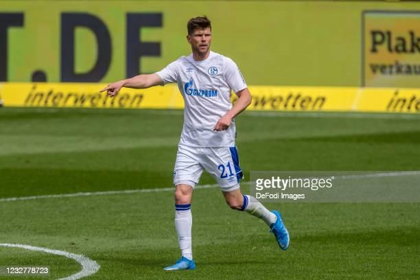 Klaas-Jan Huntelaar of FC Schalke 04 gestures during the Bundesliga match between TSG Hoffenheim and FC Schalke 04 at PreZero-Arena on May 8, 2021 in...
