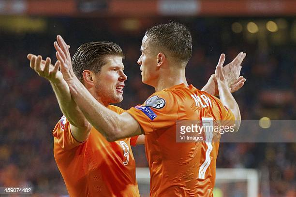 KlaasJan Huntelaar of Holland Ibrahim Afellay of Holland during the match between Netherlands and Latvia on November 16 2014 at the Amsterdam Arena...