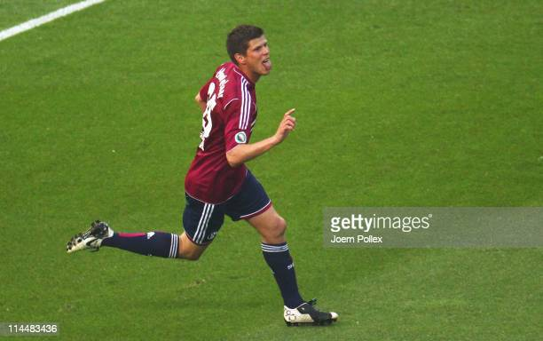 KlaasJan Huntelaar of Schalke celebrates after scoring his team's second goal during the DFB Cup final match between MSV Duisburg and FC Schalke 04...